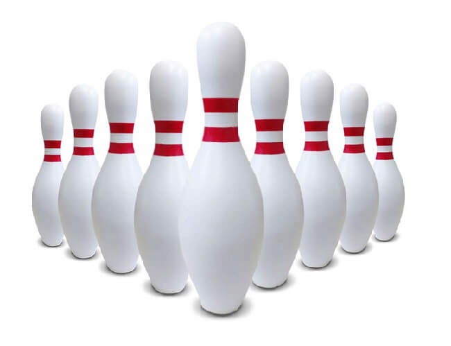 Bowling pins are made from wood material